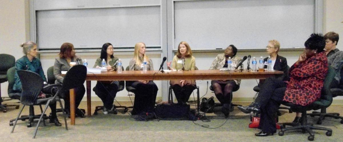 Women's Studies faculty and community leaders at a panel