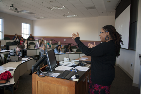 Dallas Goodwin teaches an undergraduate class in Women's Studies at UGA